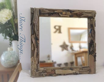 Driftwood Mirror, Large Square Mirror, Nautical Decor, Isle Of Wight  Beaches. Rope