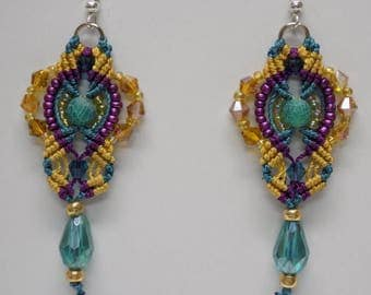 Micro Macrame  Earrings Beaded Turquoise Purple Golden Yellow