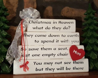 Christmas in Heaven What do they Do Memorial Sign, Red and white... May be personalized...Rustic Treasures by Jordan's Designs