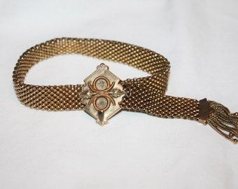 Antique GF Mesh Slide Bracelet, Brides Bracelet, Victorian Mesh Bracelet, 1871 Jewelry,Tassel Bracelet