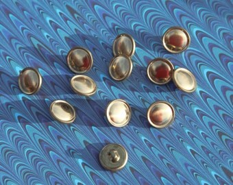 """12 Vintage 9/16"""" Shiny Gold Metal Shank Buttons with a Plain Design. Sewing, Applique, Crafts. Small Metal Buttons. Item 4124M"""