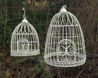 2 White Bird Cages - Garden Patio Wedding Home Decor