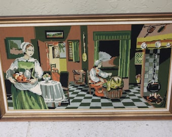Large Vintage Framed Needlepoint Picture Kitchen Scene/Primitive Home Needlepoint?Pioneer Women