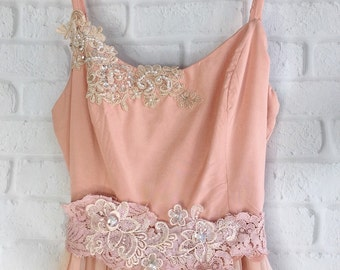 blush & muted rose tiered lace boho bridesmaid dress by mermaid miss kristin