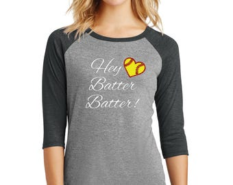 Hey Batter Batter with glitter red stitches raglan shirts