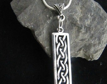 Irish Celtic Knot Rectangle Silver Necklace
