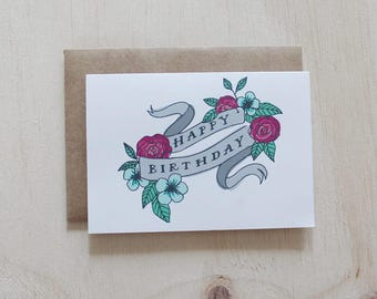 SALE | Happy Birthday Card. Illustration. Hand Lettering. Florals.