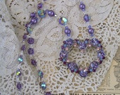 Purple Rhinestone Heart Assemblage Necklace