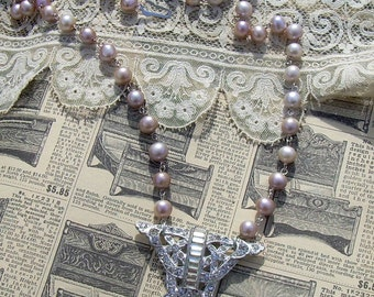 Assemblage Necklace with Vintage Rhinestone Fur Clip and Pink Freshwater Pearls