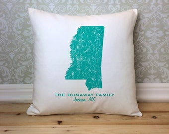 Mississippi State Pillow Cover Personalized with Your Family Name and Hometown