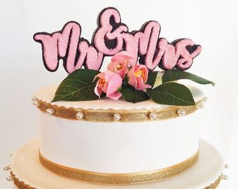 Cake Topper Solid Chocolate - Mr. & Mrs. Cake Topper - Chocolate Wedding Cake Topper