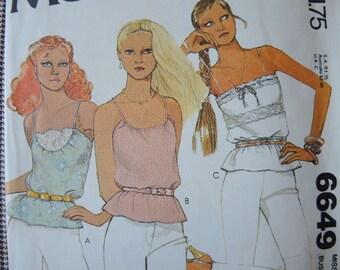 vintage 1970s sewing pattern McCalls 6649 disco era misses petite top size 6 UNCUT