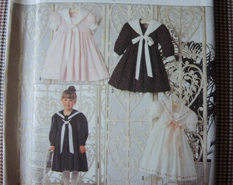 1990s Simplicity sewing pattern 9940 Oliver Goodin UNCUT girls dress size 2-6x