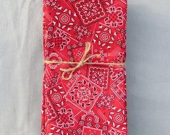 Red Bandana  Set of 6 100% Cotton  Napkins