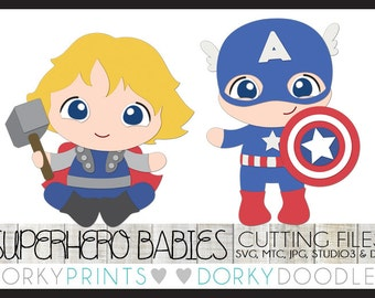 Super Hero Cuttable Files, Baby Heroes - svg, mtc, jpg, studio 3, and dxf files, Superhero SVG