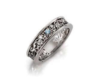 Aquamarine ring, Diamond, white Gold, filigree wedding band, blue, Aquamarine wedding, ring, Gold wedding band, diamond band