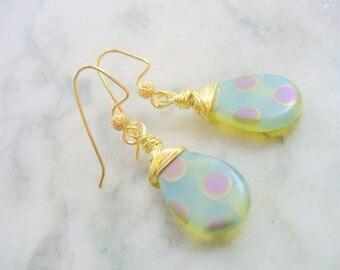 Opaque Cream Wire Wrap Earrings, Peacock Dots Teardrop Wire Wrapped Earrings, Birthday Gift, Weddings, Purple, Blue, Gold, Beige