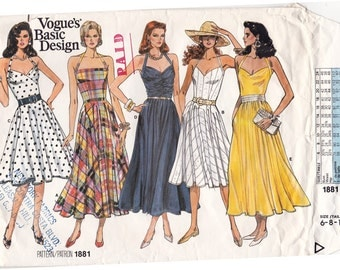 RARE FF Vogue 1881 HALTER Dress w/ Flared Skirt Variations Fitted Bodice 1980s Vintage Sewing Pattern, Size 6 8 10 Bust 30 1/2-32 1/2 Uncut