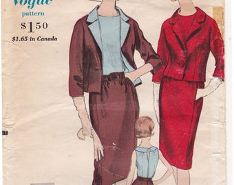 """1960s Vogue Special Design 5647, One Piece Dress and Jacket Vintage Sewing Pattern - Size 12, Bust 32"""", Complete Cut"""