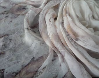 Extra Large 235x114cm Silk Chiffon Fabric Eco Printed for Sewing, Felting or Scarf Australian Plants white Tan Pink Leaf Pattern
