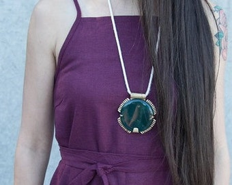 Circle Bloodstone Necklace