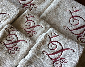 Extra large set monogrammed towels Great for Wedding gifts, Shower gifts, Graduation, Birthday, Anniversary and Housewarming