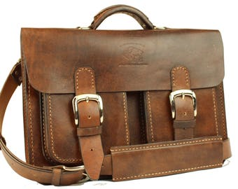Leather Messenger Bag,  Leather Briefcase, Leather shoulder bag, Macbook Pro, 064