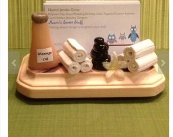 Custom business card holder for spa,polymer clay,handmade,business cards