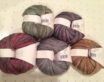 Five Colors of Sublime Yarn's DK Weight Bamboo/Merino Wool/Silk Blend SOPHIA Yarn