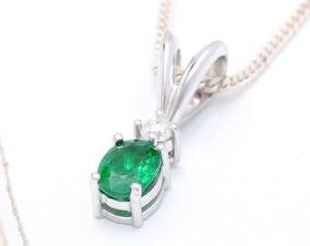 Tsavorite Green Garnet & Diamond Pendant 14K White Gold (0.85ct tw) : sku 517-14K-WG (Watch Video)