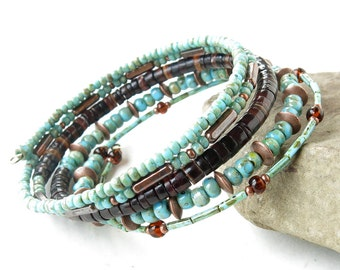 Beaded bracelet stack - turquoise blue, brown & copper stacking memory wire bangles