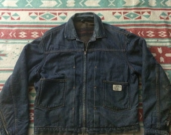 Vintage Montgomery Ward Powr House 101 50s Flannel Lined Thicker Denim Jacket