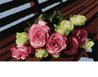 Needlepoint Kit or Canvas: Roses On Bench