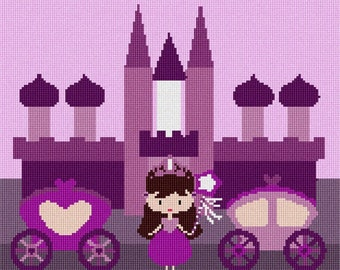 Needlepoint Kit or Canvas: Purple Castle