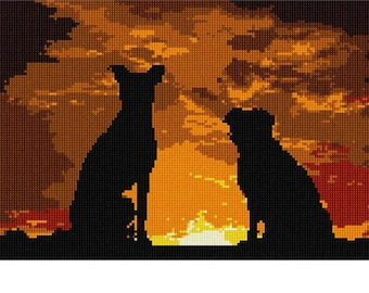 Needlepoint Kit or Canvas: Dogs Sunset Silhouette