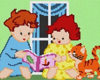 Needlepoint Kit or Canvas: Kids Reading