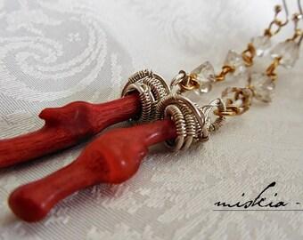 Dangle earrings,Red earrings, Coral stick earrings, Herkimer diamond earrings, Sterling silver and Gold Filled earrings, Long coral earrings