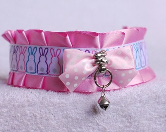 Easter bunny - collar for pet-play, age-play, bdsm, ddlg, lolita