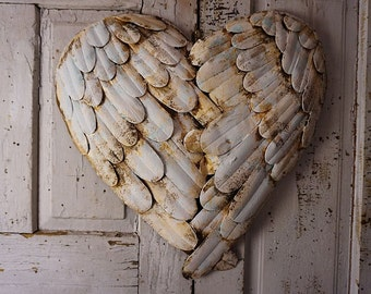 Angel wings heart wall hanging sculpture shabby cottage chic large metal feathered heart rusty farmhouse home decor anita spero design