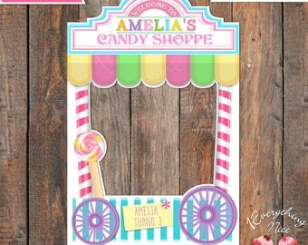 "Sweet Candy Shoppe Theme 24"" x 36""  Happy Birthday Photo Booth Frame Digital Download"