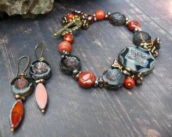 Butterfly Ball - OOAK rustic black orange red gold bronze butterfly floral bracelet.