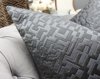 Black Pillow Cover - Schumacher Pillow Cover - Salon Quilted Satin in Ebony - Black Geometric