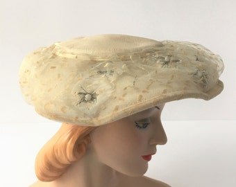Linen Hat, Vintage 1950s Ladies' Hat, Off-White Hat With Veil and Floral Embellishments, Wearable Wedding Hat, Hat for Stage or Photo Prop