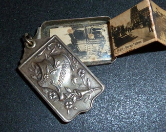 Antique french Slide  Book Locket Souvenir Paris  1800 s Pendant charm