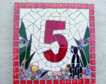 Mosaic Dog House Number, Christmas,Custom Nameplate, door number,street address,cat,pet,animal, yard art, garden sign, outdoor numbers,glass