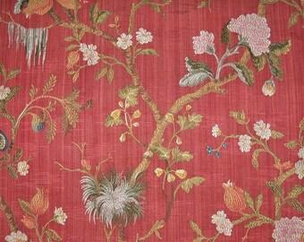 SCALAMANDRE MELOGRANO Pomegranate SILK Lampas Damask Fabric 10 Yards Cinnabar Red Multi