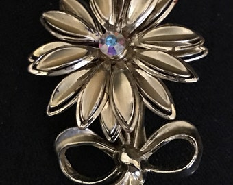 Gold Flower Brooch Vintage Flower Pin with Rhinestone Middle Goldtone 1960's -1970's Flower Power