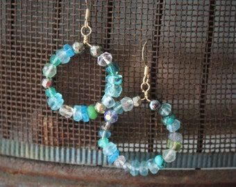 Lily Earrings: Apatite, aquamarine, pyrite, quartz and labradorite gemstone dangle hoop earrings on 14k gold filled ear wire