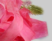 Hand Dyed Pink Raw Edge Silk Ribbon - Australia - Florist Ribbon - Fiber Arts and Crafts