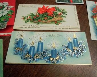 11 vintage Christmas cards - midcentury - unused - various sizes - 1950s
